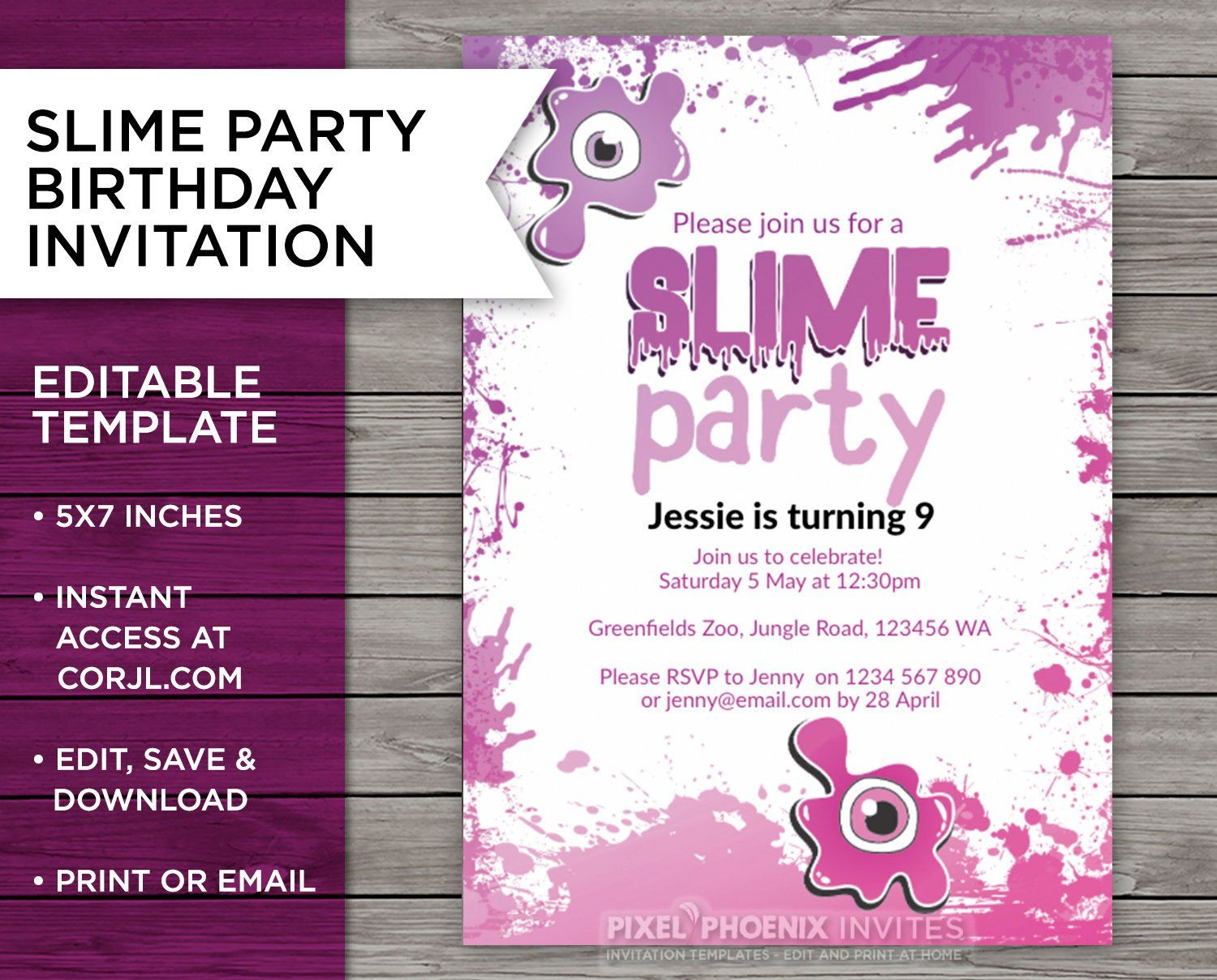 Pink slime party birthday invite slime party invitation