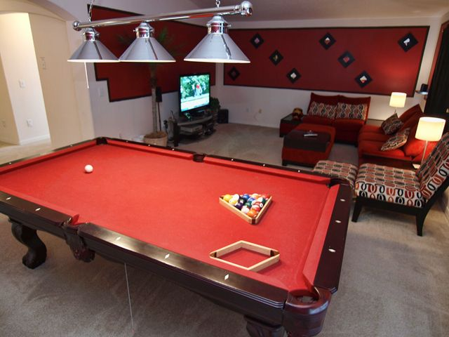 Hall To Have A Pool Table With Some Seating Arrangement Love The Extra Top Lighting Hall Snooker Room Flat Interior Home Decor Inspiration