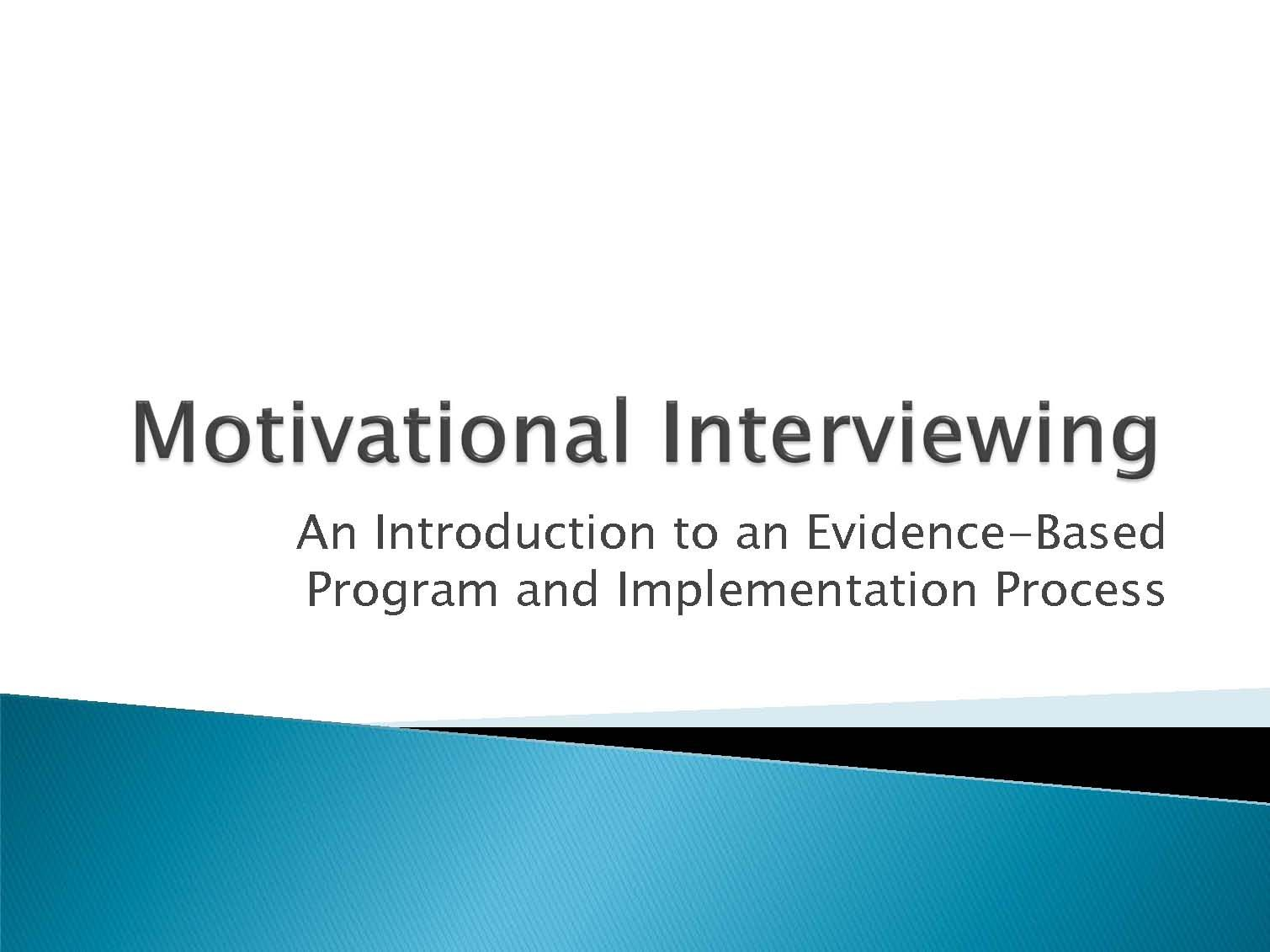 Great Resource For Motivational Interviewing