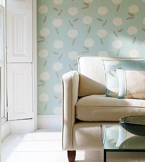 Living Room Blue Duck Egg Dandelion Wallpaper