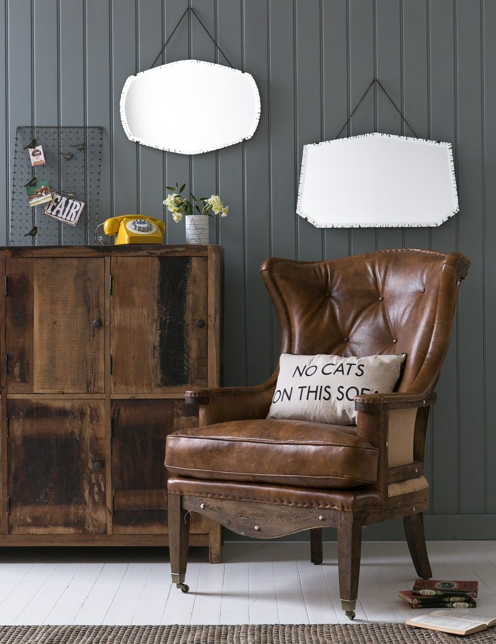 Deconstructed Wingchair at Rose and Grey Vintage leather