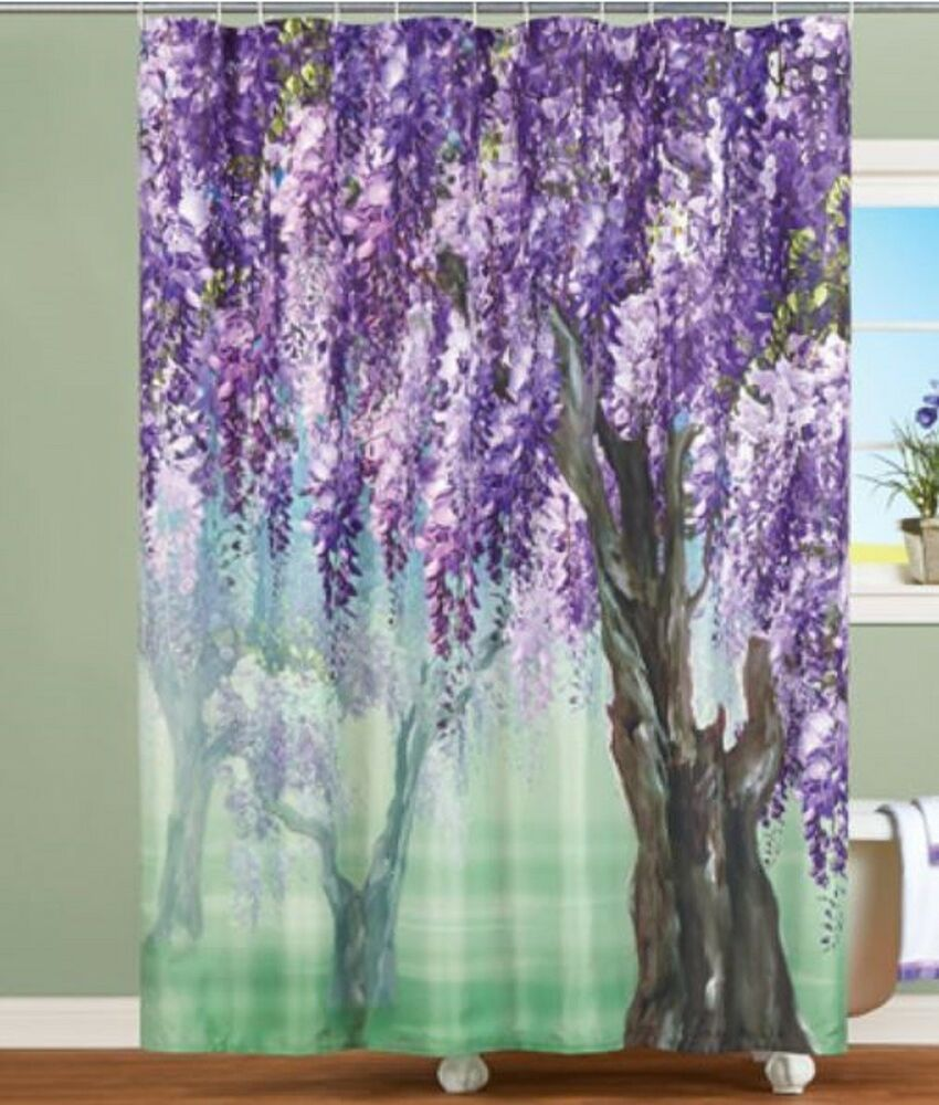 Purple Floral Shower Curtain Lilac Lavender Wisteria Spring Bath