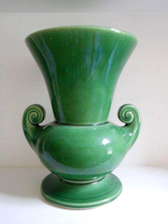 1940s Mccoy Vase Dark Green Glaze 8 Inches Tall Decor