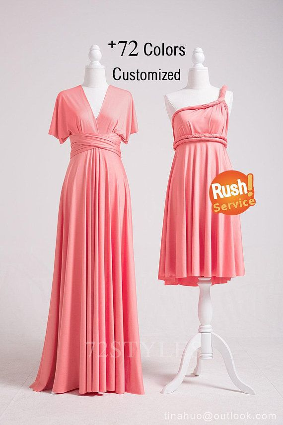Convertible Dress Pink, Convertible Bridesmaid Dress Short ...
