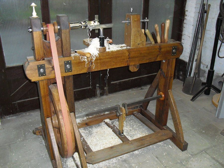 Working with the treadle lathe. - by tuoh @ LumberJocks.com ~ woodworking community