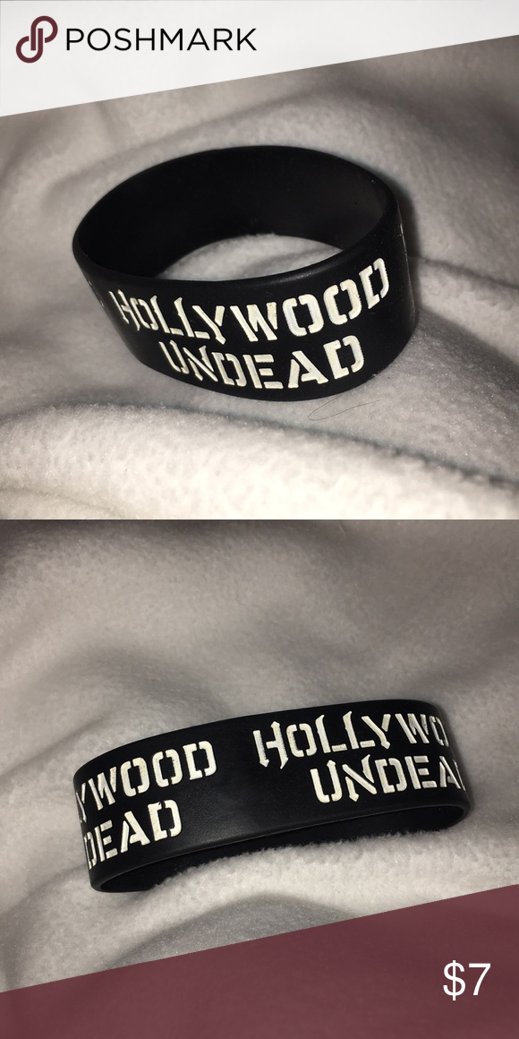Hollywood Undead Rubber Bracelet Black With White Writing Thick Band Hot Topic Jewelry Bracelets