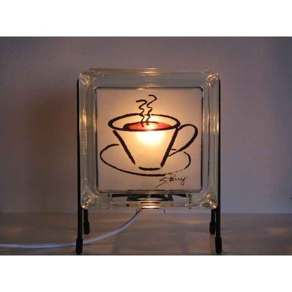Coffee accent lamp upcycled handmade glass block night light free shipping kitchen decor coffee