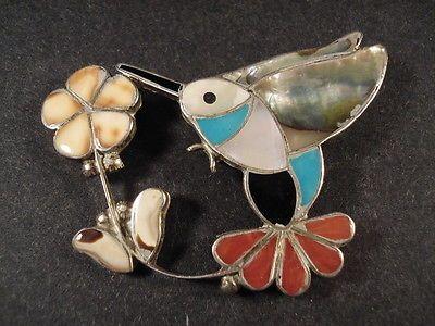 VINTAGE Zuni Inlay TURQUOISE, CORAL, MOP Hummingbird Silver Pin Pendant Old pawn