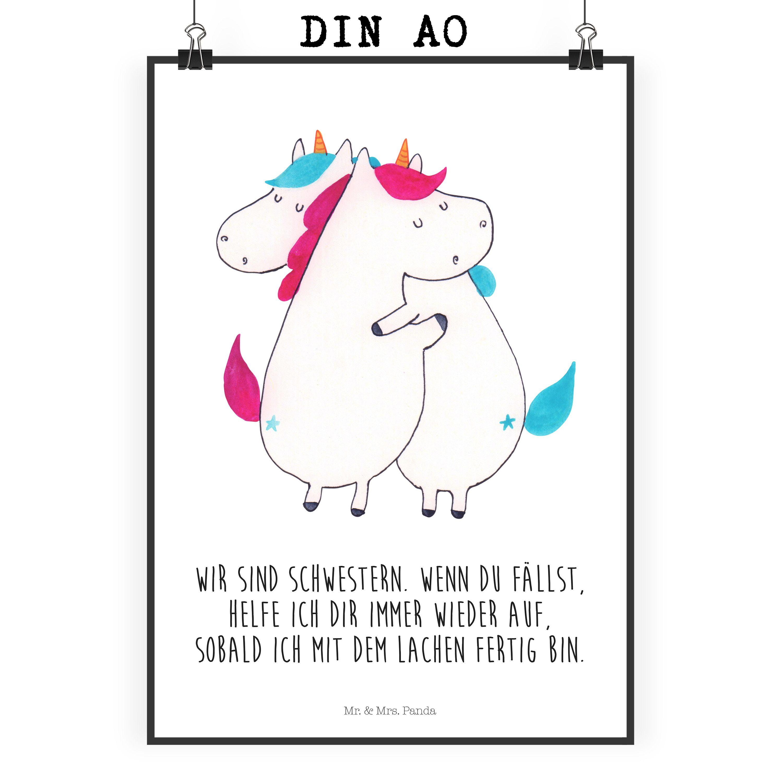 Poster DIN A0 Einhörner Umarmen aus Papier 160 Gramm weiß Das