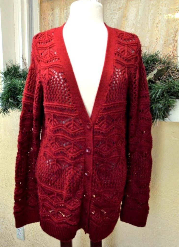 Maurices Boyfriend Sweater L Dark Red Fan Pointelle V Neck Long ...