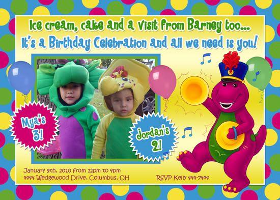 Nice barney birthday invitations ideas free printable invitation make a creative invitation for a birthday card barney that you created yourself bookmarktalkfo Gallery