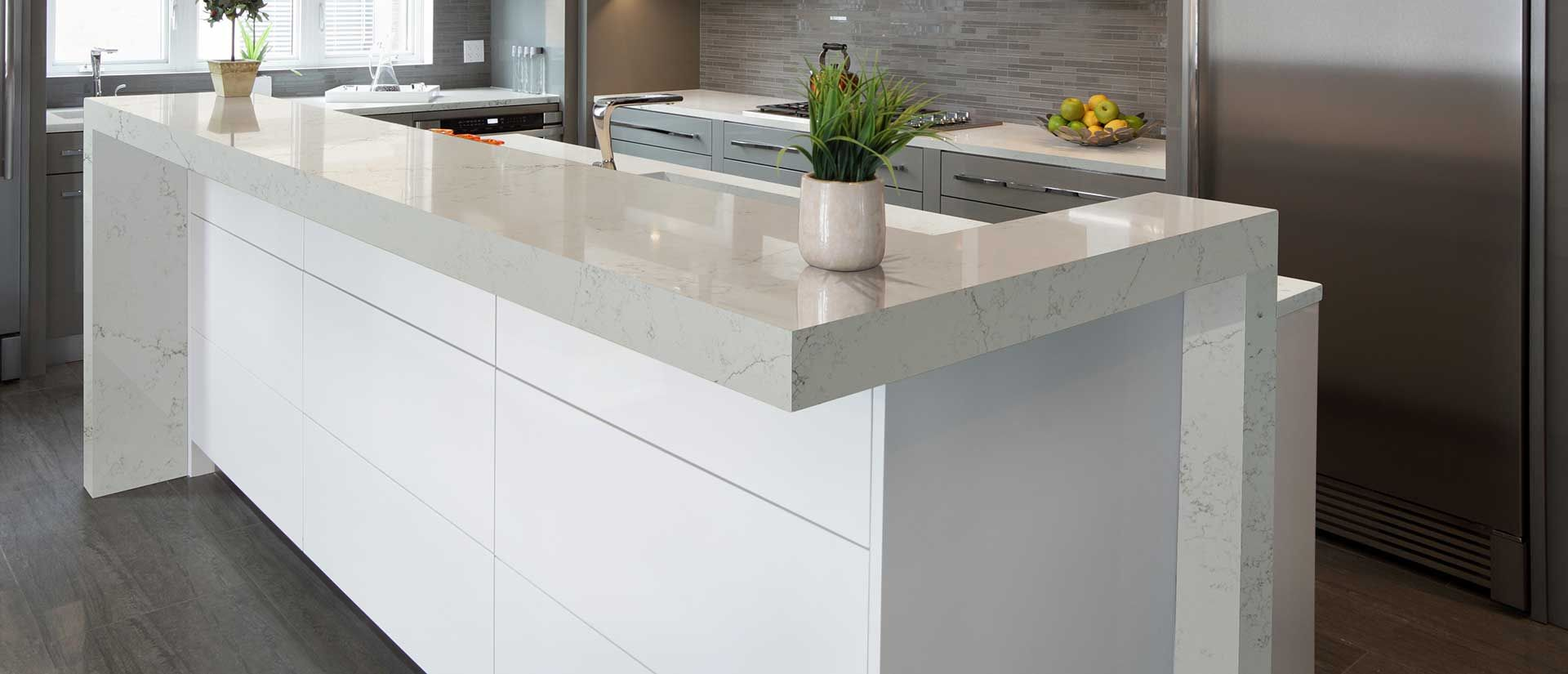Alabaster White Quartz Slab Countertops Q Premium Natural Quartz