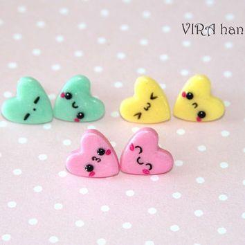 Set of 3 pairs kawaii heart ear studs