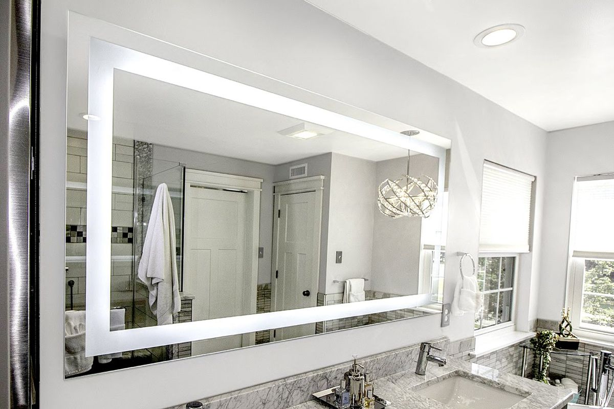 """Front-Lighted LED Bathroom Vanity Mirror: 72"""" Wide x 36 ..."""