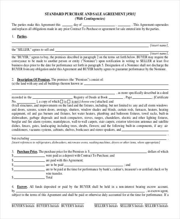 Purchase Agreement Templates 11 Free Printable Word Pdf Purchase Agreement Contract Template Purchase Contract