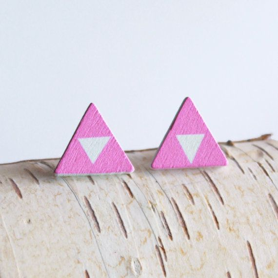 Pink Triangle Studs  wooden earrings white by BirchJewellery