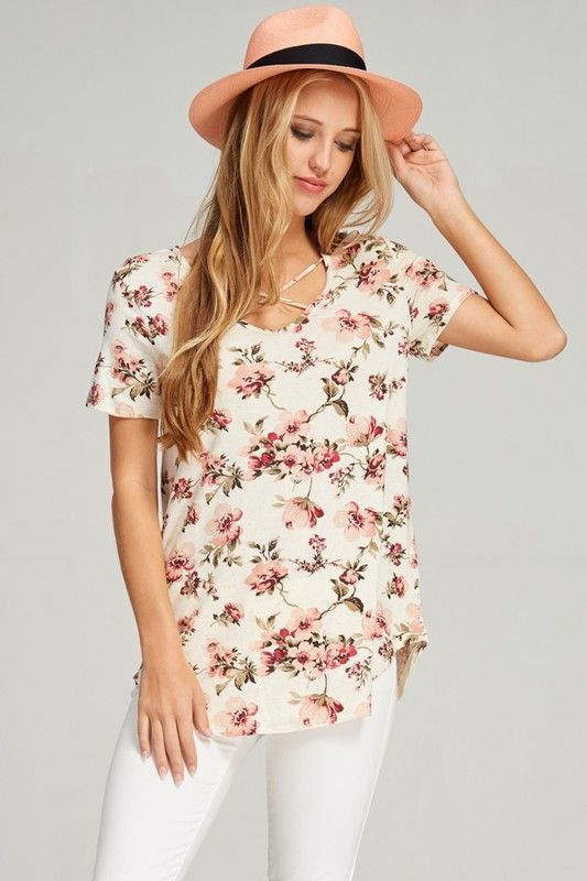 Sable Floral Criss Cross Top