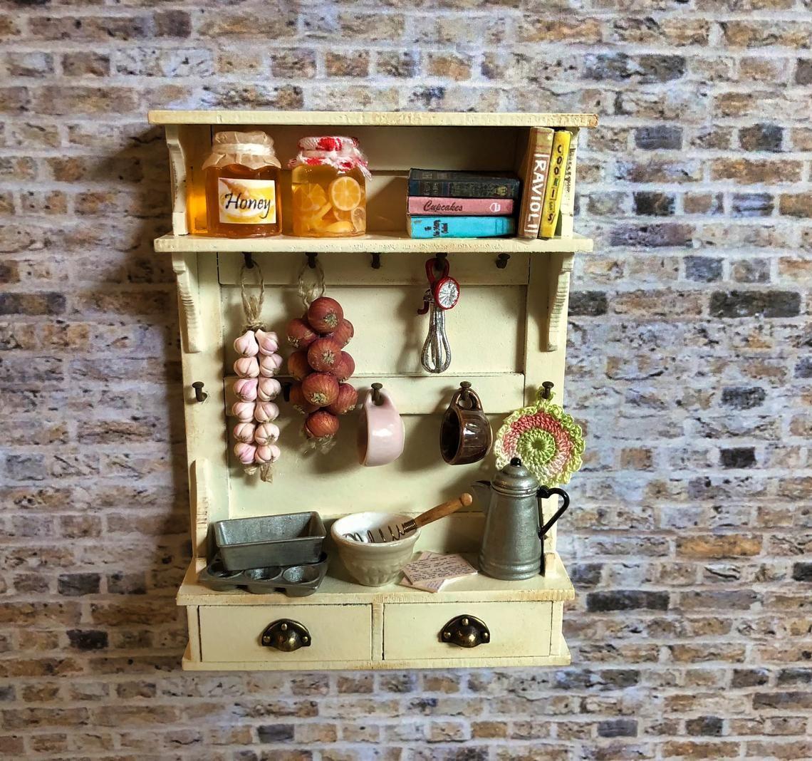 Mini Cocina Estante Miniatura de casa de muñecas Utensilios de Cocina Estante De Madera Muebles
