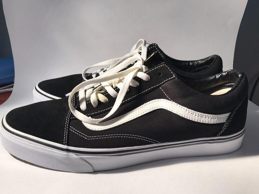 9968e3da57 VANS OLD SKOOL BLACK WHITE LOW SUEDE CANVAS CLASSIC SKATE SK8 US MENS SIZE  13  VANS  Skateboarding