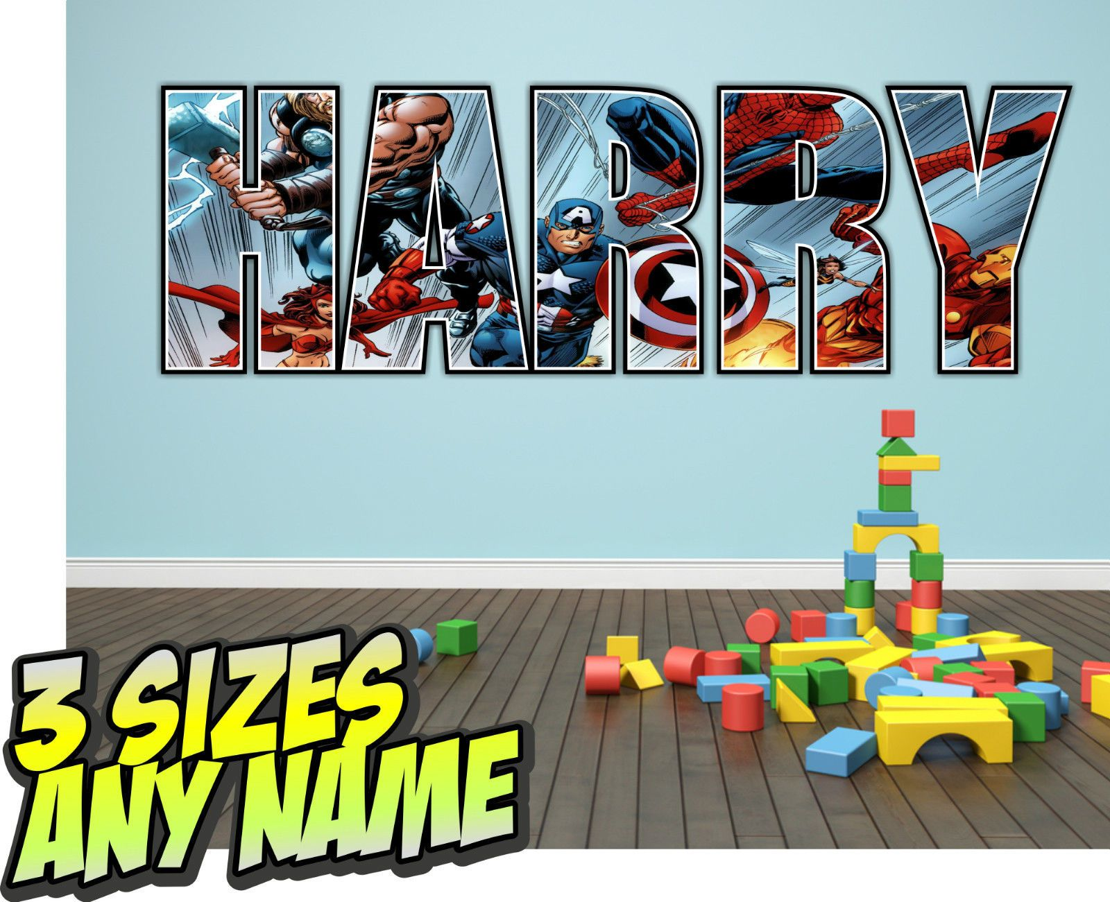 Best Personalised Kids Lego Heroes Marvel Avengers Name Wall 400 x 300