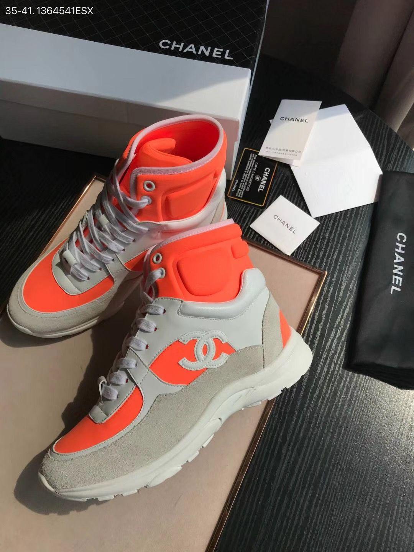 chanel orange high tops