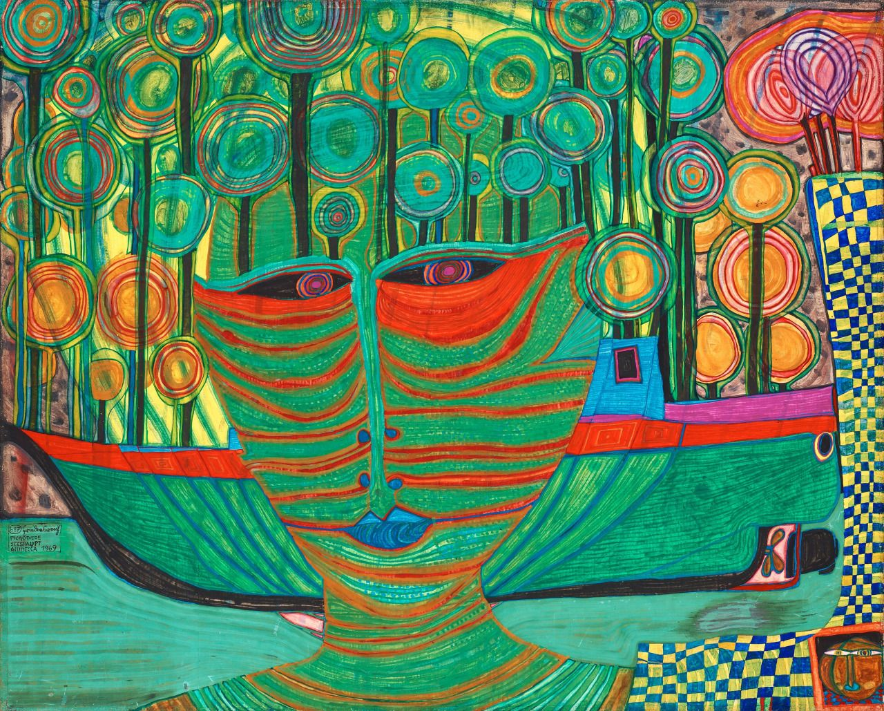 Columbus Landed in India - Friedensreich Hundertwasser 1969Austrian 1928- 2000 Egg tempera, wax, oil and watercolour on paper (81 x 111 cm)Source: kundst