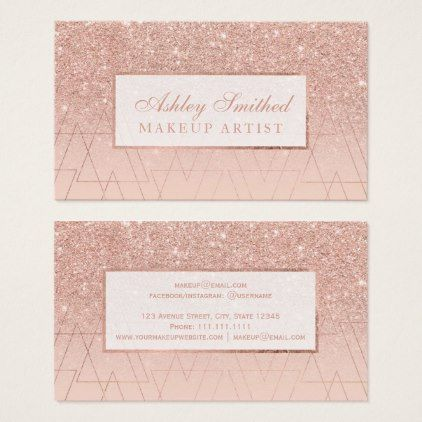 Rose gold glitter blush ombre triangles makeup business card rose gold glitter blush ombre triangles makeup business card reheart Image collections