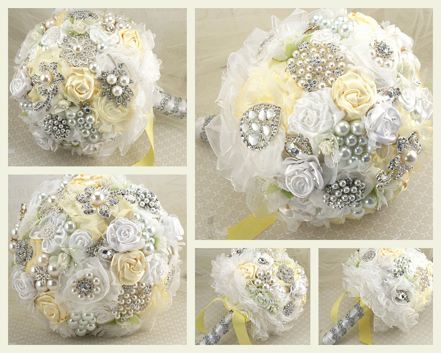 Love the pale yellow with white and silver wedding bliss brooch bouquet bridal jeweled bouquet wedding bouquet in lemon yellow and white via etsy except baby blue instead of yellow izmirmasajfo