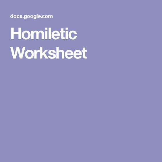 Homiletic Worksheet
