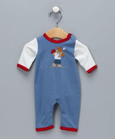 Loving this Denim Blue Baseball Bear Pima Playsuit - Infant on #zulily! #zulilyfinds