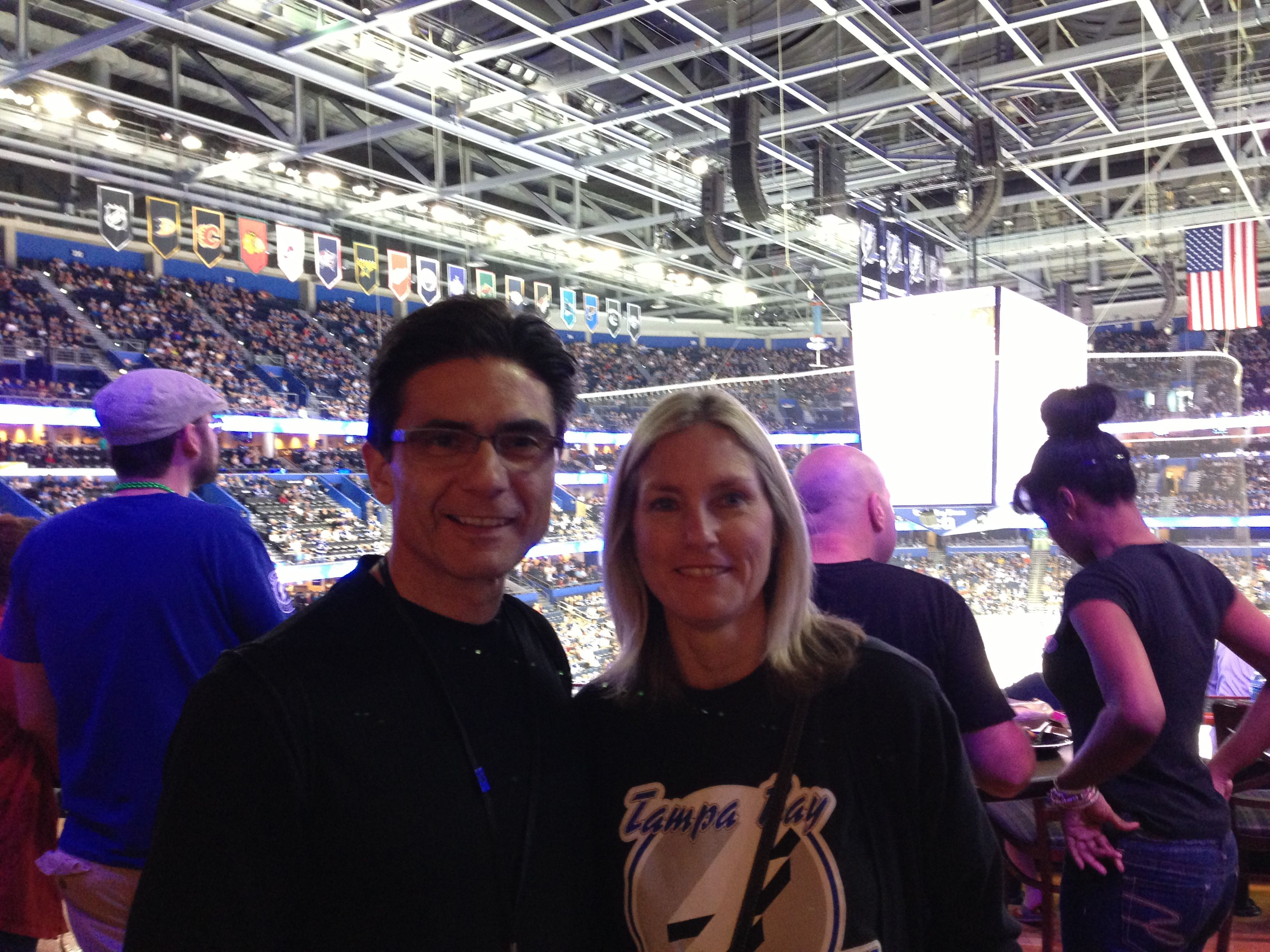 Enjoying a Lightning game with my wife.