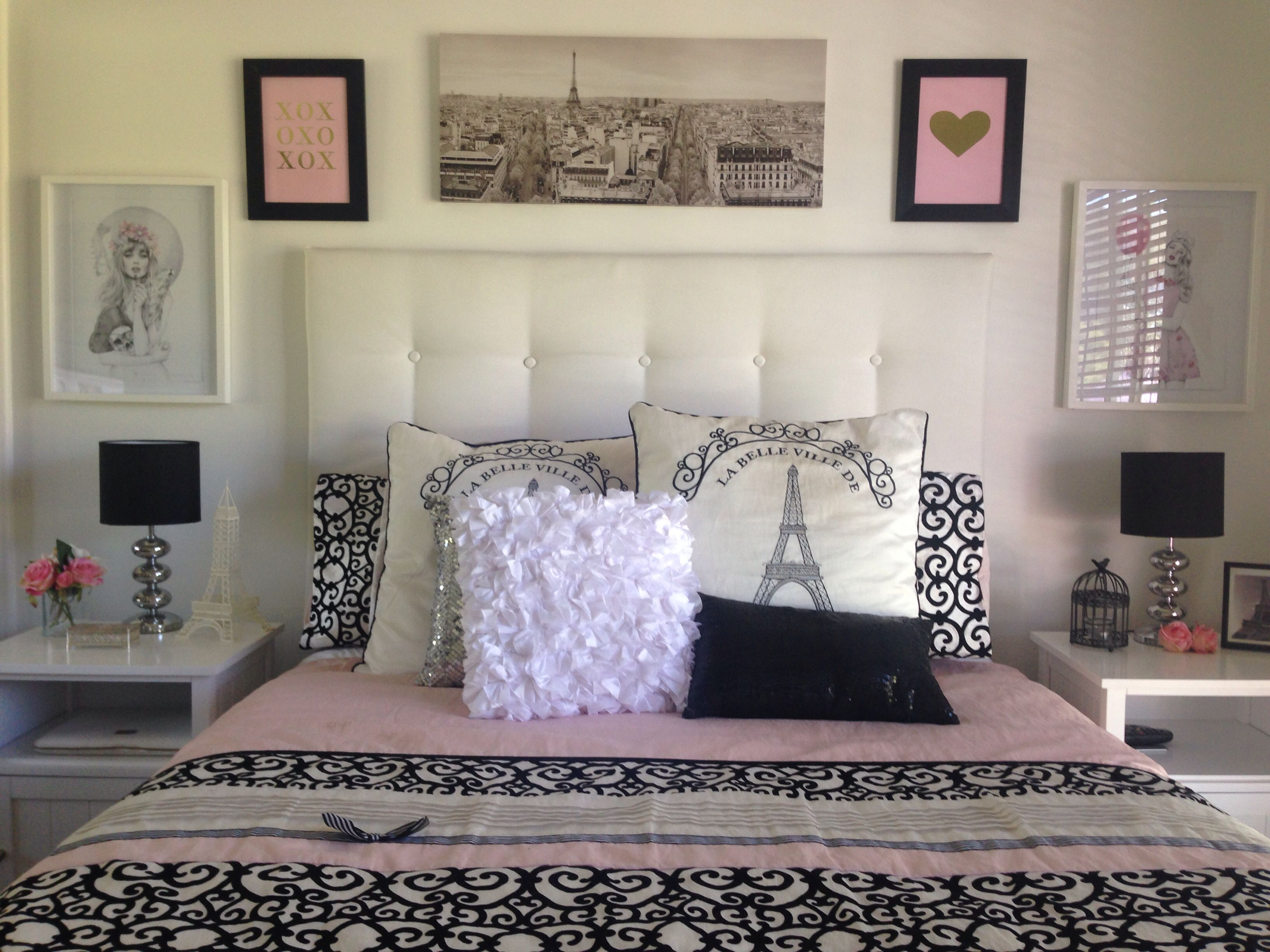 Pink Black and Gold Paris Bedroom