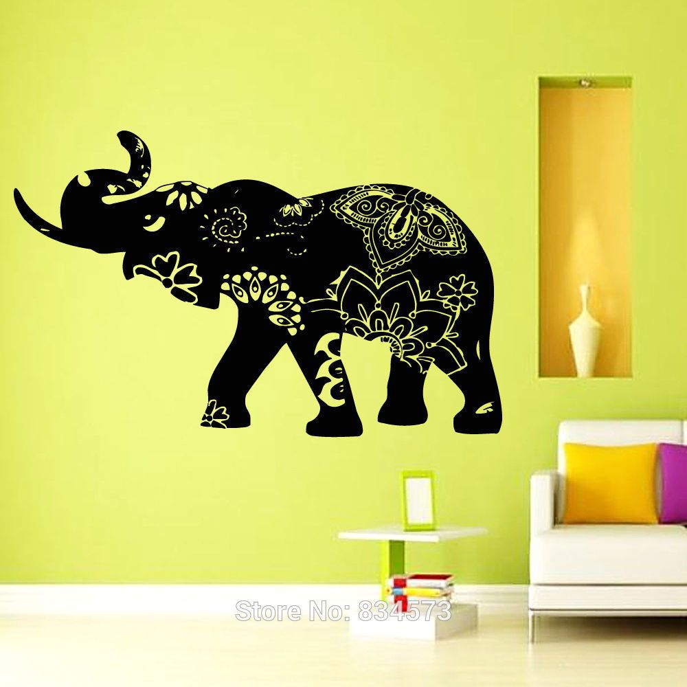 Elephant Decal Indian Yoga Wall Art Sticker Decal Home DIY ...