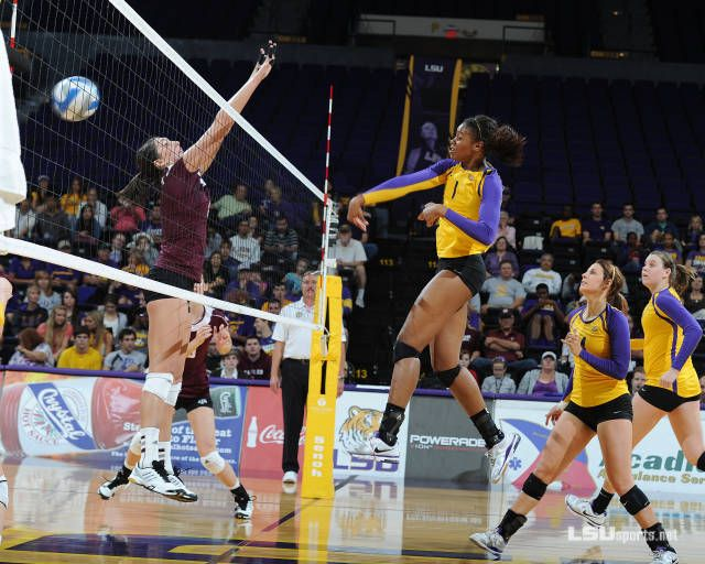 Volleyball Drops Inaugural Sec Match With Texas A M Lsu Volleyball Volleyball Photos
