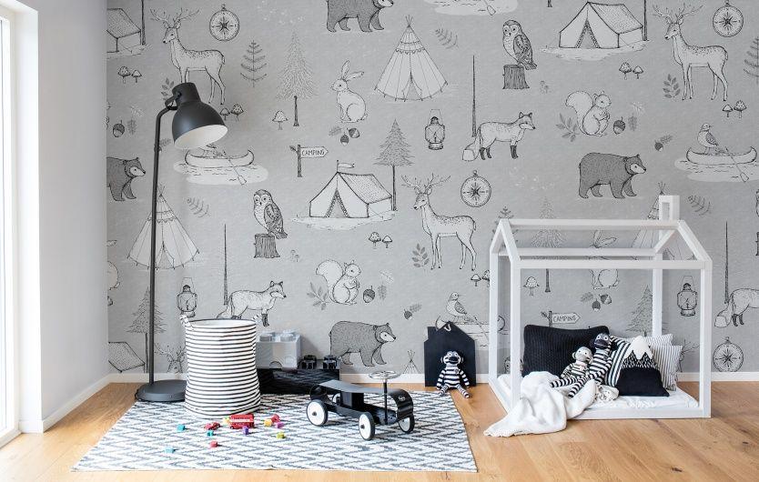 Camping Trip Grey In 2019 Camping Wallpaper Kids Wall