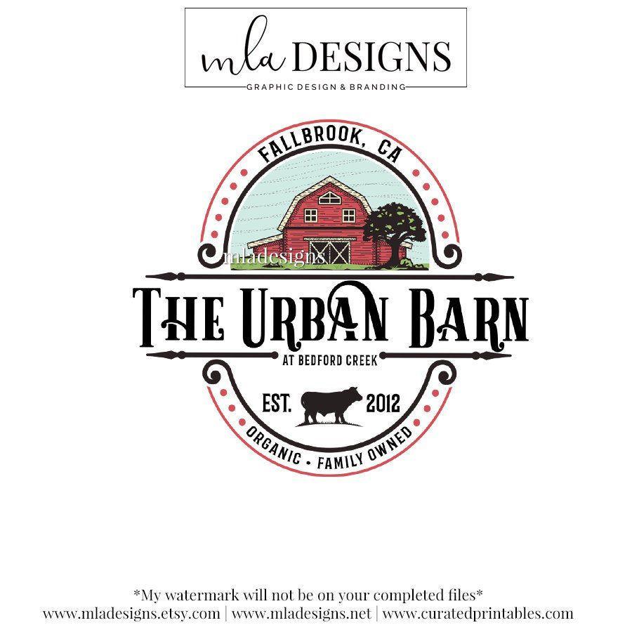 Farm Retro Style Logos: Farmhouse Logo Barn Logo Rustic Logo Farm Floral Logo