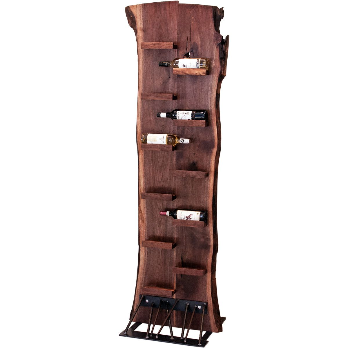 Unique Wine Racks Rustic Log Panel And Wine Handles On Unique Wall Mounted Wine