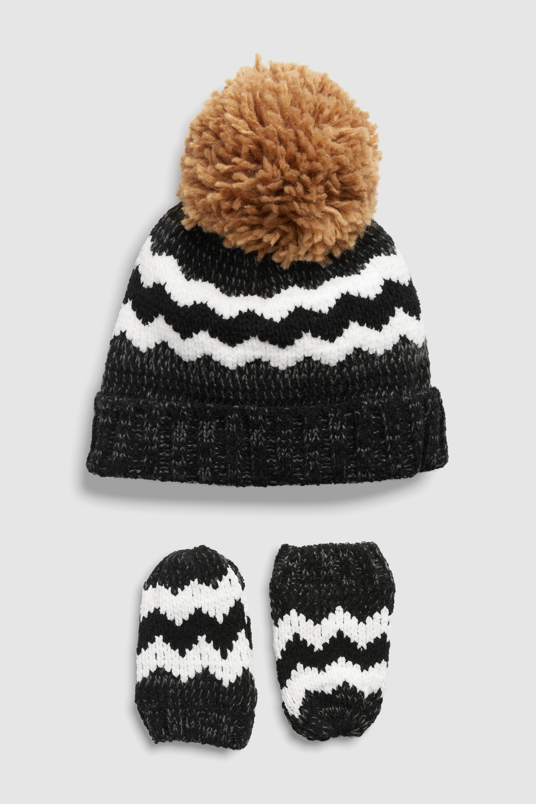 1c931723aba Boys Next Monochrome Chenille Hat And Mittens Two Piece Set (Younger) -  Black