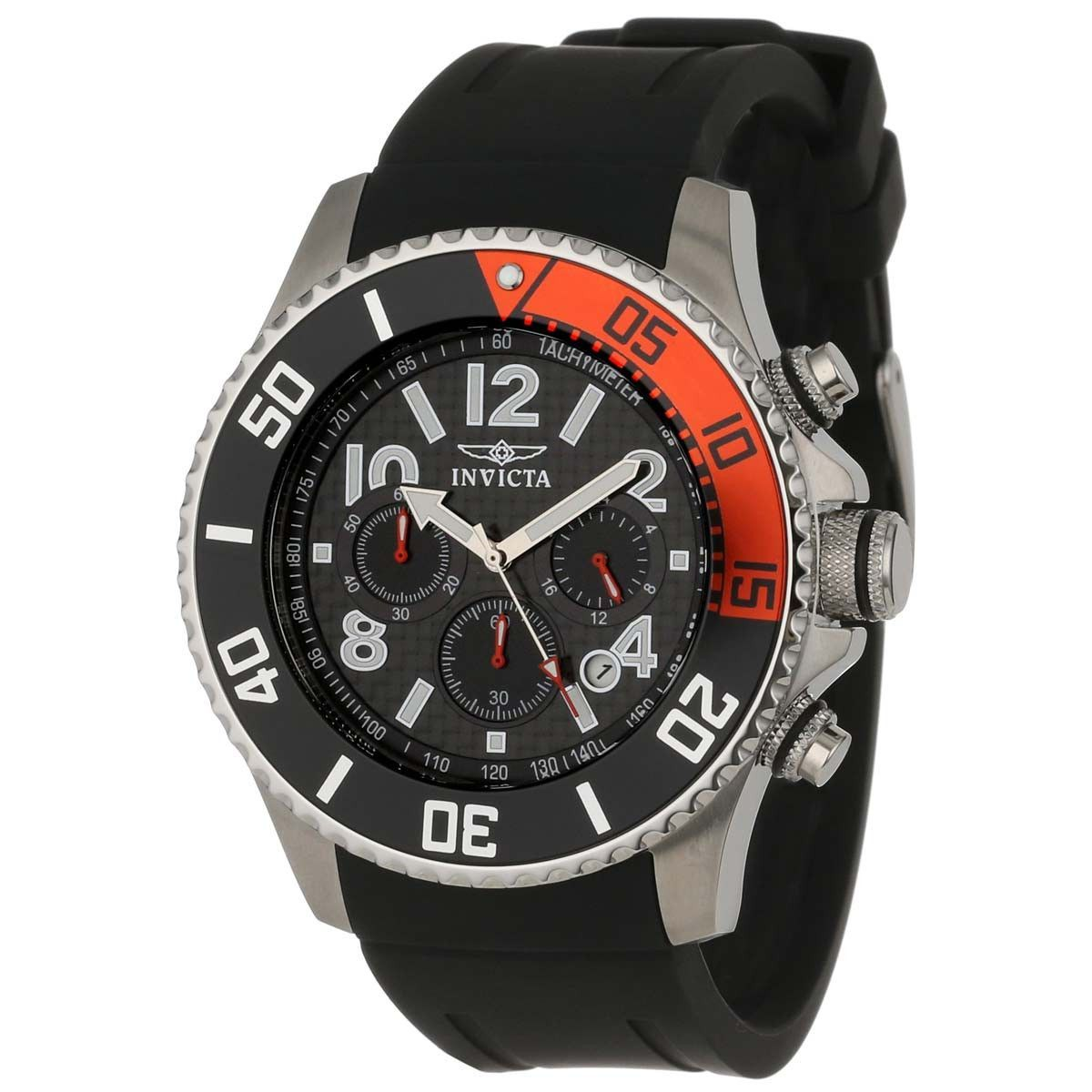 Invicta 13727 Men's Pro Diver Black & Red Bezel Carbon Fiber Black Dial Chronograph Watch