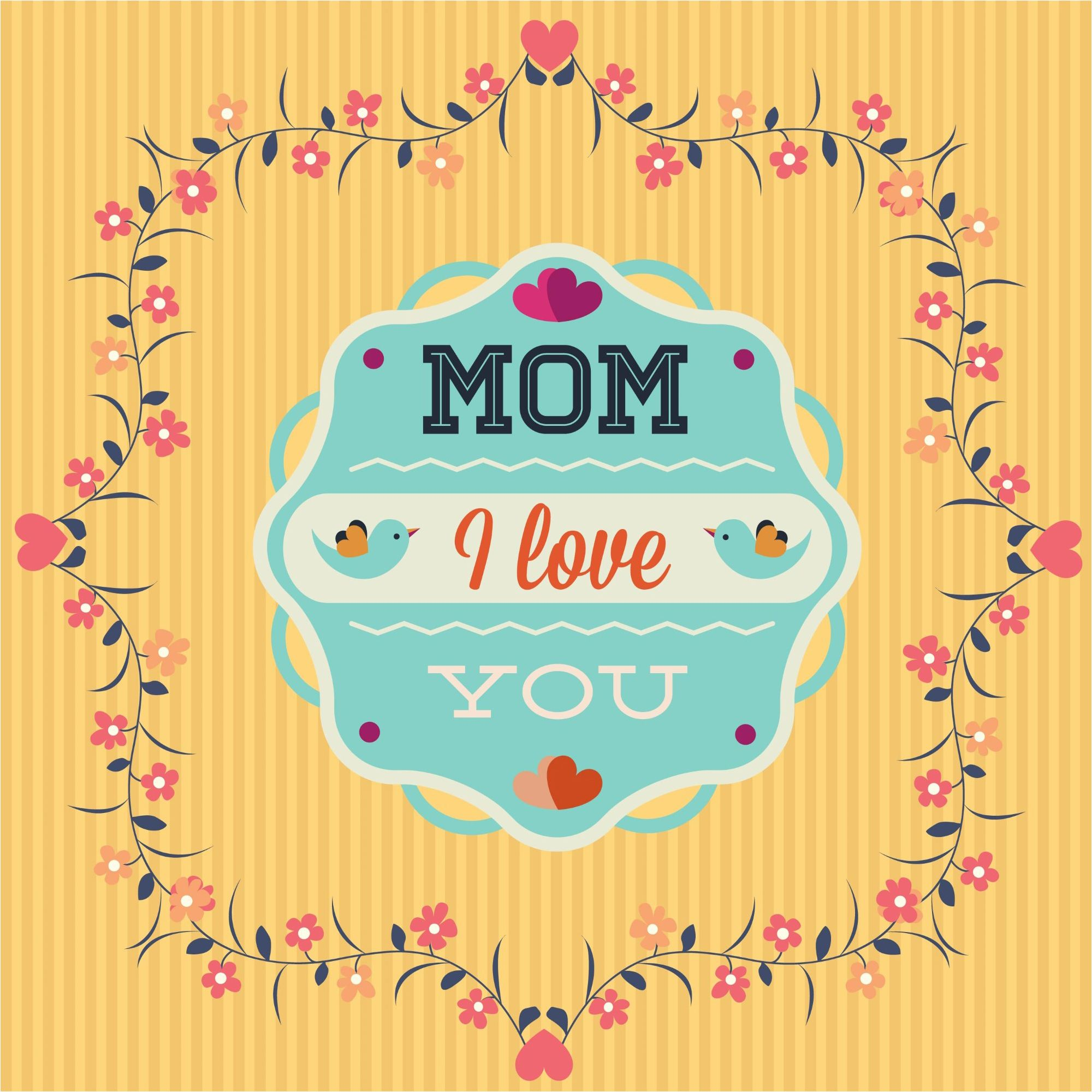 Vector bunting flags lovely celebration card with colorful paper - I Love You Mom Greeting Card Design Background Graphics