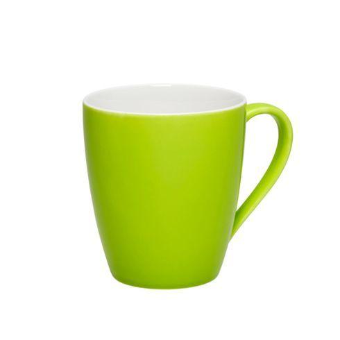 Trendiger Kaffeebecher in Grün und Weiß - da schmeckt der Kaffee - wohnzimmer creme grun