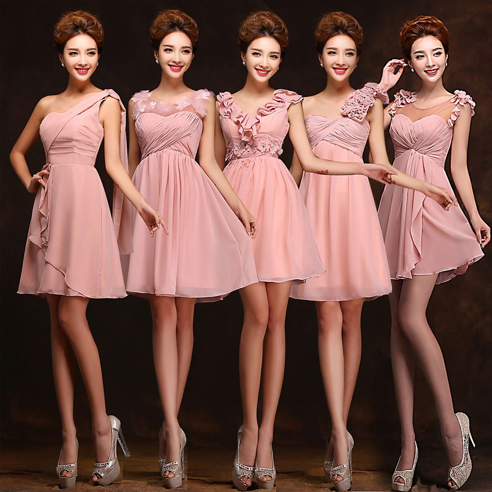 5 Styles Vestidos De Formatura Long Blush Pink Bridesmaid Dresses ...