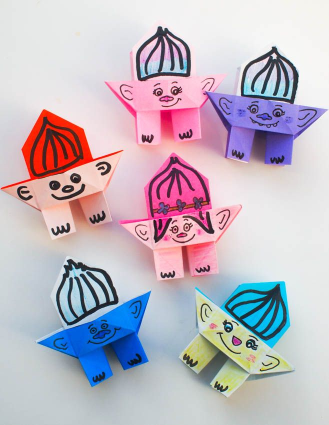Origami troll dolls fun projects origami and dolls for Easy paper crafts for teens