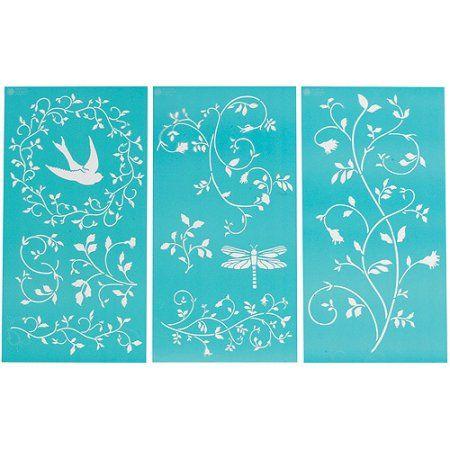 "Martha Stewart Large Stencils 3 Sheets/pkg, Tendrils 8-3/4""x16-3/4"", 10 Designs"
