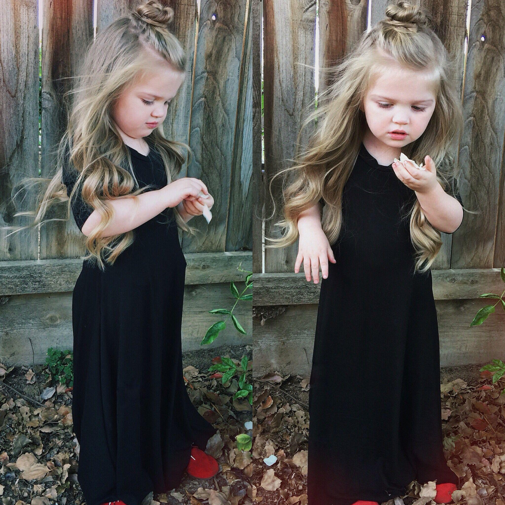 littlegirl tied up Top knot half up half down Little girl hair