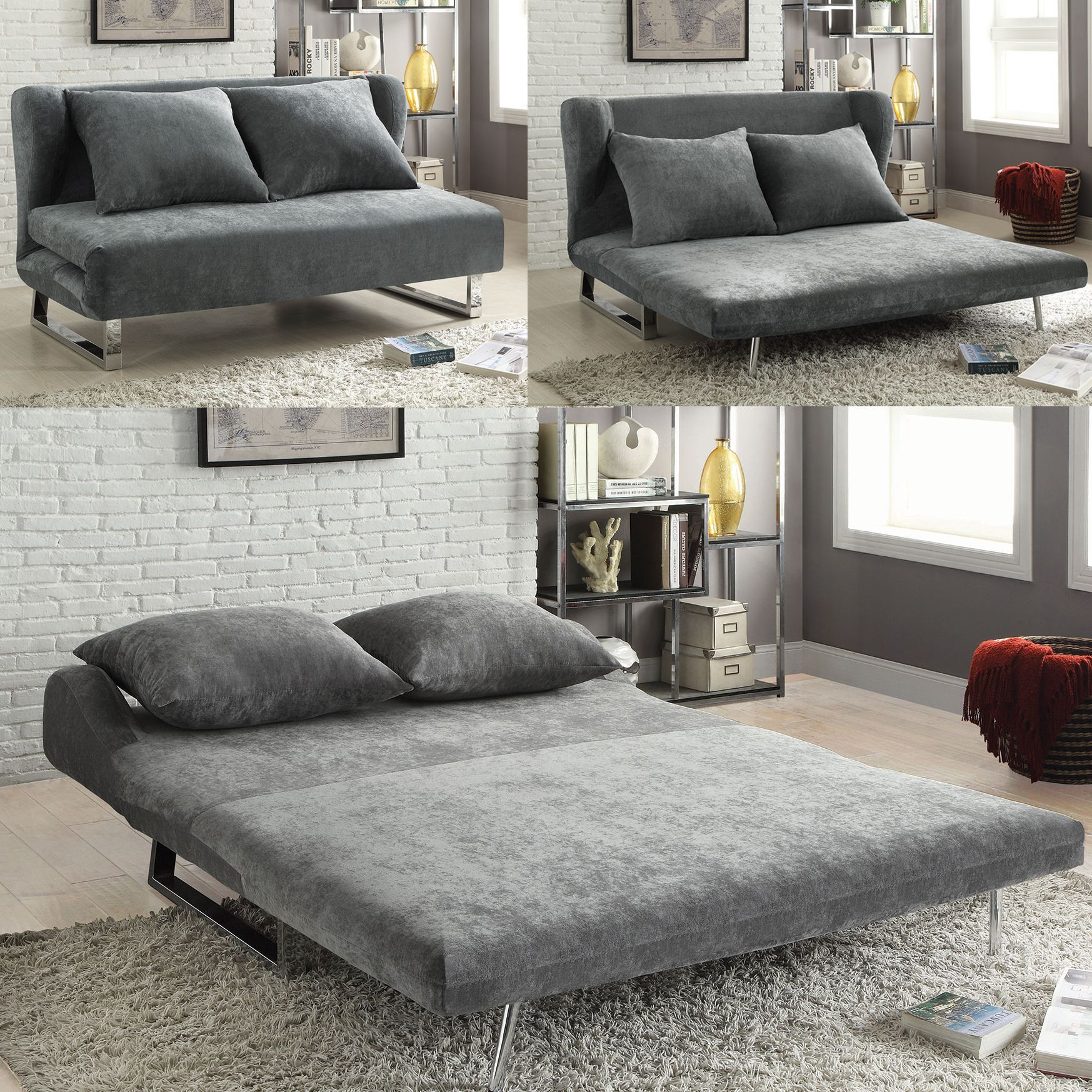 100-in-10 Converts from sofa to chaise to queen size bed. How