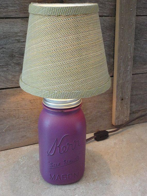 Quart Size Mason Jar Lamp Small Purple Table Lamp By Rustic4you Quart Size Mason Jars Purple Table Lamp Lamp