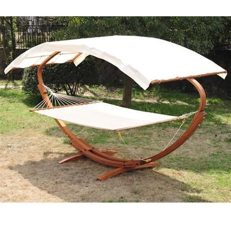 Outsunny Patio Wooden Double Hammock Swing Sun Roof Bed W