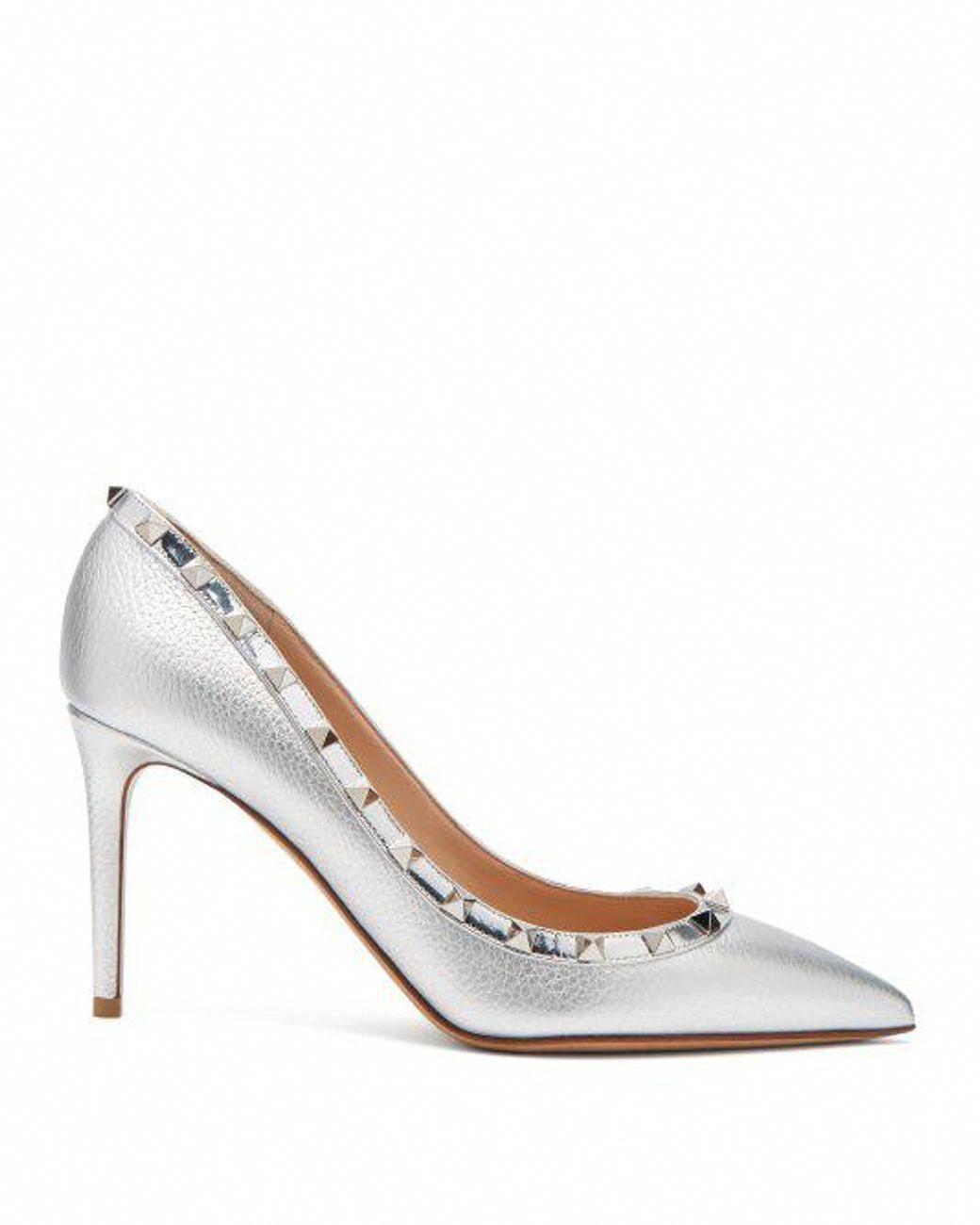 416413aa17c Valentino - Rockstud Metallic Point Toe Leather Pumps - Lyst  Valentino