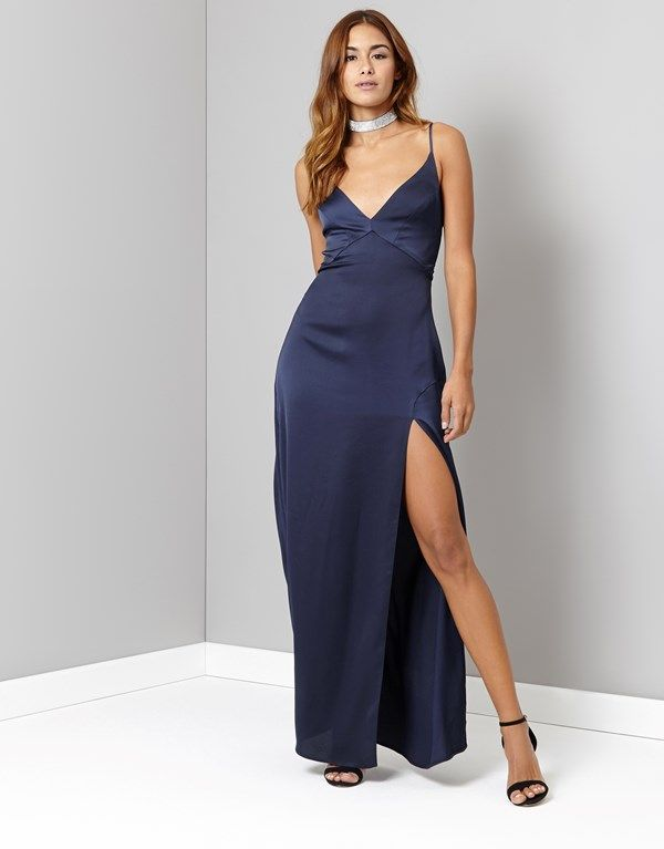 358372814157 Lipsy Satin Wrap Split Maxi Dress